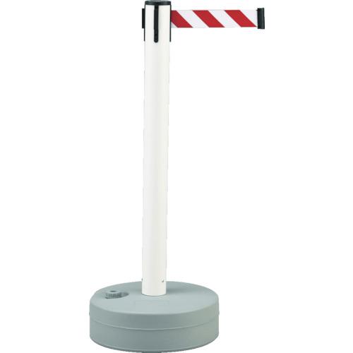 ■緑十字 バリアースタンド(スタート+キャッチ) ポール:白 ベルト:白/赤  〔品番:368011〕[TR-3873609]【大型・重量物・個人宅配送不可】