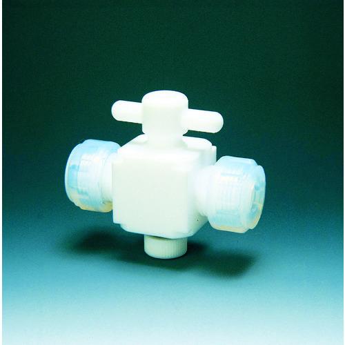 ■フロンケミカル フッ素樹脂(PTFE)二方バルブ接続6MM  〔品番:NR0028-001〕[TR-3915379]
