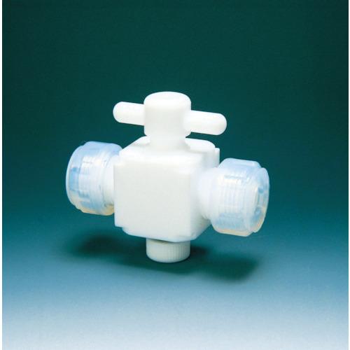 ■フロンケミカル フッ素樹脂(PTFE)二方バルブ接続8MM  〔品番:NR0028-002〕[TR-3915387]