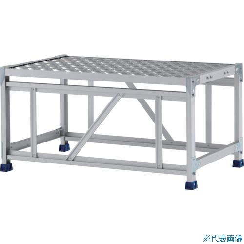 ■アルインコ 作業台(天板縞板タイプ)1段 天板寸法1000×600mm高0.5m〔品番:CSBC151WS〕[TR-4439872]【大型・個人宅配送不可】