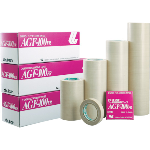 ■チューコーフロー フッ素樹脂(テフロンPTFE製)粘着テープ AGF100FR 0.18t×250w×10m〔品番:AGF100FR-18X250〕[TR-4494300]