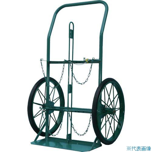 ■KS ボンベ運搬車(大車輪型)酸素7000L容器、アセチレン7.0kg容器用〔品番:KU-O〕[TR-4527933 ]【重量物・送料別途お見積り】