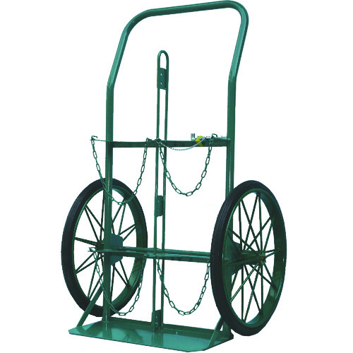 ■KS ボンベ運搬車(大車輪型、仕切板付)酸素7000L、アセチレン7.0kg用〔品番:KU-O-P〕[TR-4527941 ]【送料別途お見積り】