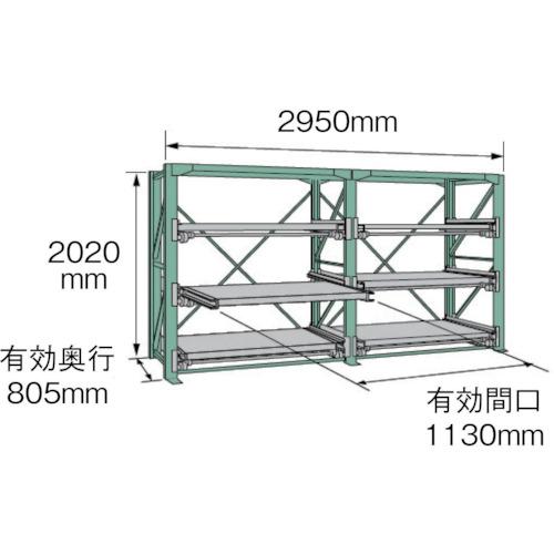 ■KDS スライドラックSSR10-2012-3FTR  〔品番:SSR10-2012-3FTR〕[TR-4528450]【大型・重量物・個人宅配送不可】
