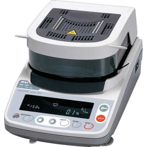 ■A&D 加熱乾燥式水分計 最小質量表示0.005g〔品番:ML-50〕[TR-4565517]【個人宅配送不可】