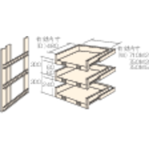 ■TRUSCO M2型棚用スライド棚 3段セット  〔品番:HTM2-9003〕直送[TR-4613902]【大型・重量物・送料別途お見積り】