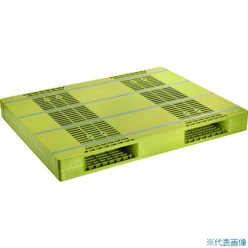 ■NPC プラスチックパレットZR-110140E 両面ニ方差し ライトグリーン  〔品番:ZR-110140E-LG〕[TR-4678826]【大型・重量物・個人宅配送不可】