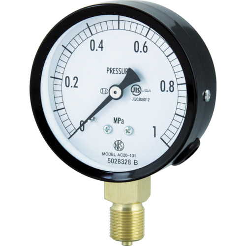 ■長野 普通形圧力計(A枠立形・Φ75・G3/8B・0.0~4.00MPA)  〔品番:AC20-131-4.0MP〕[TR-4984382]
