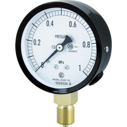 ■長野 普通形圧力計(A枠立形・Φ75・G3/8B・0.0~6.00MPA)  〔品番:AC20-131-6.0MP〕[TR-4984391]