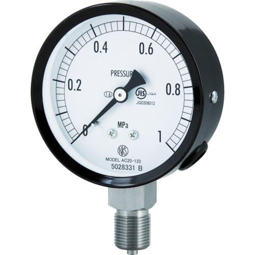 ■長野 普通形圧力計(A枠立形・Φ75・G3/8B・0.0~1.60MPA)  〔品番:AC20-133-1.6MP〕[TR-4984471]