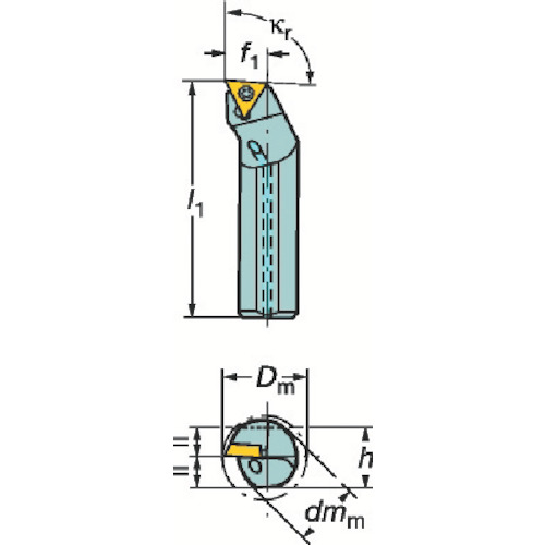 ■サンドビック コロターン107 ポジチップ用超硬ボーリングバイト  〔品番:E20S-STFCL〕[TR-6049761]