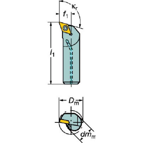 ■サンドビック コロターン107 ポジチップ用ボーリングバイト  〔品番:A16R-SDQCR〕[TR-6109446]