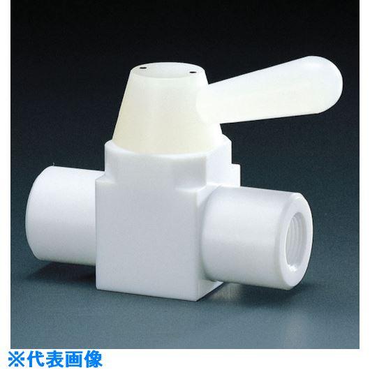 ■フロンケミカル フッ素樹脂(PTFE)二方ボールバルブ RC3/8 フッ素ゴム  〔品番:NR0001-002〕[TR-7343914]