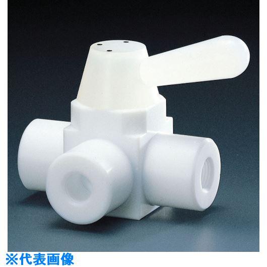 ■フロンケミカル フッ素樹脂(PTFE)三方ボールバルブ RC3/8 フッ素ゴム  〔品番:NR0002-002〕[TR-7343990]