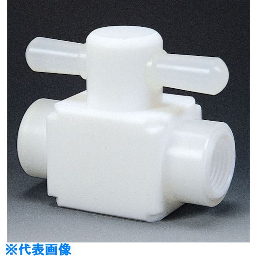 ■フロンケミカル フッ素樹脂(PTFE)メス三方バルブ圧入型 RC3/8  〔品番:NR0007-002〕[TR-7344171]