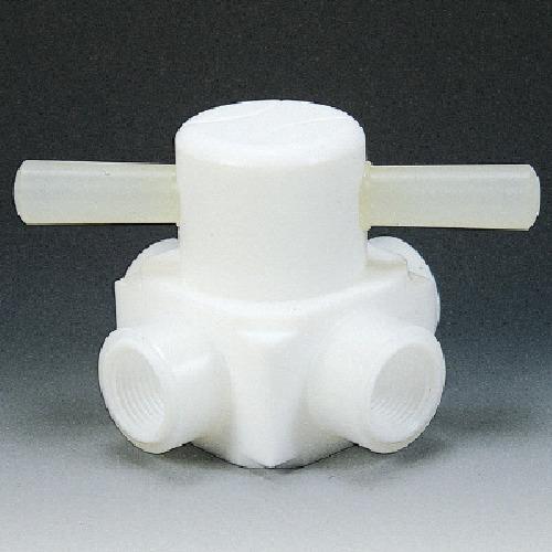 ■フロンケミカル フッ素樹脂(PTFE)メス四方バルブ圧入型 RC1/4  〔品番:NR0008-001〕[TR-7344201]