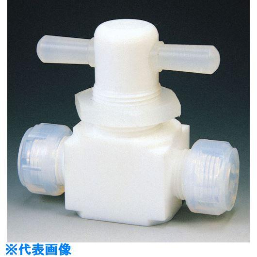 ■フロンケミカル フッ素樹脂(PTFE)二方パネル付バルブ圧入型 6Φ  〔品番:NR0009-001〕[TR-7344244]