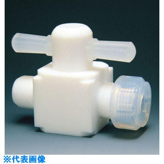 ■フロンケミカル フッ素樹脂(PTFE)オス二方バルブ圧入型 6Φ×R1/4  〔品番:NR0011-001〕[TR-7344325]