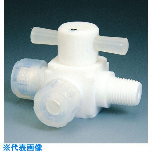 ■フロンケミカル フッ素樹脂(PTFE)オス三方バルブ圧入型 12Φ×R3/8  〔品番:NR0012-004〕[TR-7344392]