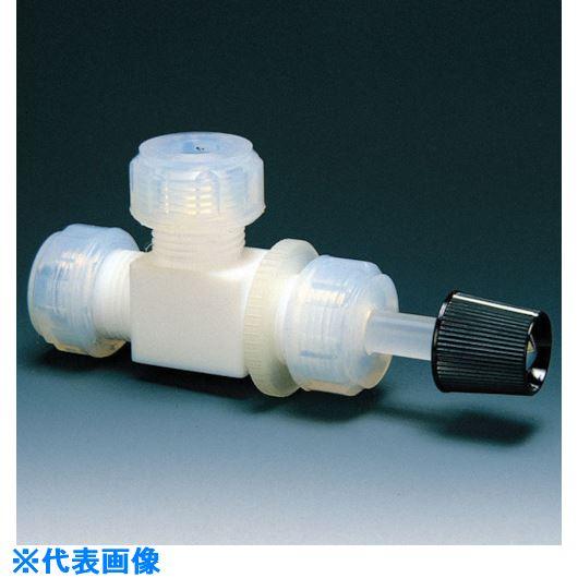 ■フロンケミカル フッ素樹脂(PTFE)ニードルバルブL型 8Φ  〔品番:NR0017-002〕[TR-7344562]