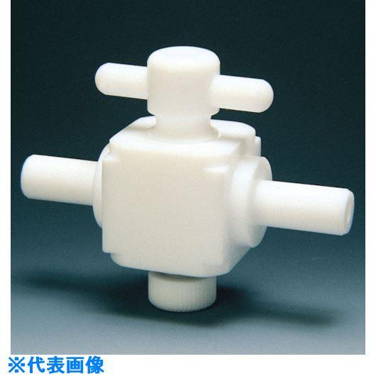 ■フロンケミカル フッ素樹脂(PTFE)二方バルブ枝タイプ 8Φ  〔品番:NR0027-002〕[TR-7344953]