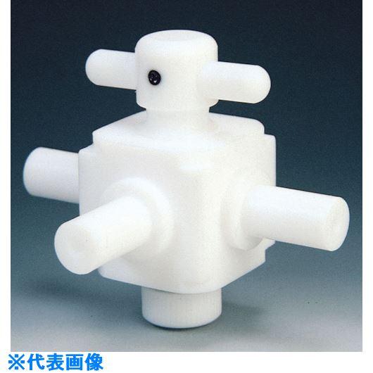 ■フロンケミカル フッ素樹脂(PTFE)三方バルブ枝タイプ 8Φ  〔品番:NR0029-002〕[TR-7344996]