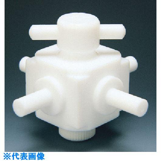 ■フロンケミカル フッ素樹脂(PTFE)四方バルブ枝タイプ 6Φ  〔品番:NR0031-001〕[TR-7345020]