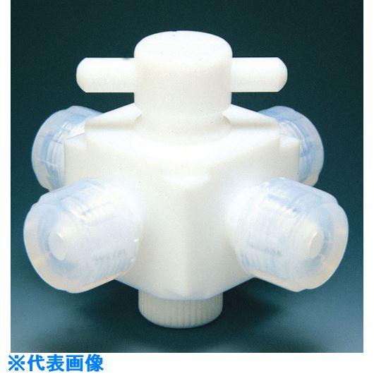 ■フロンケミカル フッ素樹脂(PTFE)四方バルブ接続タイプ 6Φ  〔品番:NR0032-001〕[TR-7345062]