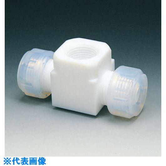 ■フロンケミカル フッ素樹脂 ハーフメスジョイントT-1型 8Φ×RC1/4  〔品番:NR0068-002〕[TR-7346140]