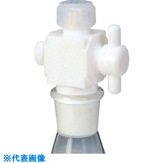 ■フロンケミカル フッ素樹脂 二方バルブ接続型アダプター 6Φ用×TS15/25  〔品番:NR0095-001〕[TR-7347251]