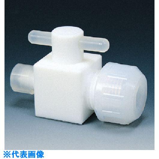 ■フロンケミカル フッ素樹脂(PTFE)三方バルブ異径圧入型 6Φ×8Φ×8Φ  〔品番:NR1212-003〕[TR-7351666]