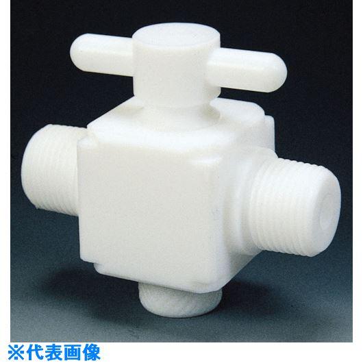 ■フロンケミカル フッ素樹脂(PTFE)二方バルブ両オスタイプ R1/4  〔品番:NR1303-001〕[TR-7352956]