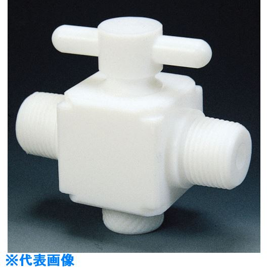 ■フロンケミカル フッ素樹脂(PTFE)二方バルブ両オスタイプ R1/2  〔品番:NR1303-003〕[TR-7352972]