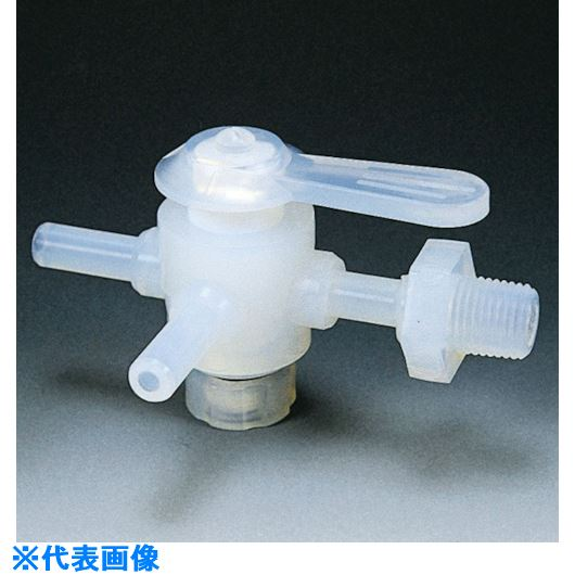 ■フロンケミカル フッ素樹脂(PFA)三方バルブ装置用 10パイ 接続ネジR3/8  〔品番:NR1306-003〕[TR-7353073]