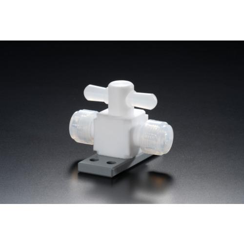 ■フロンケミカル フッ素樹脂(PTFE)二方バルブ圧入型ベース付 6パイ  〔品番:NR1327-001〕[TR-7353286]