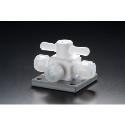 ■フロンケミカル フッ素樹脂(PTFE)三方バルブ圧入型ベース付 6パイ  〔品番:NR1328-001〕[TR-7353359]【個人宅配送不可】