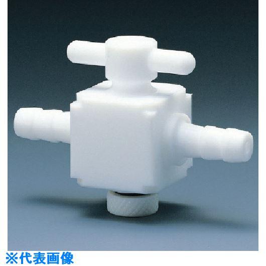 ■フロンケミカル フッ素樹脂(PTFE) 二方バルブホース口タイプ 8パイ  〔品番:NR1400-002〕[TR-7353456]