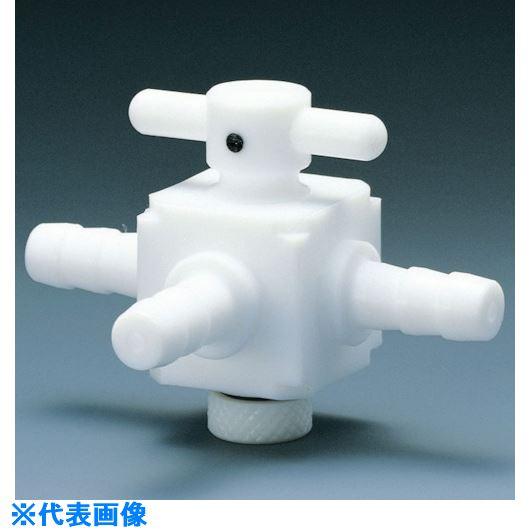 ■フロンケミカル フッ素樹脂(PTFE) 三方バルブホース口タイプ 8パイ  〔品番:NR1401-002〕取寄[TR-7353499]