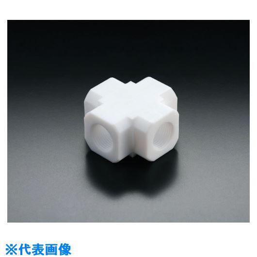 ■フロンケミカル フッ素樹脂(PTFE)十字ソケット RC1/2  〔品番:NR1661-003〕[TR-7354711]