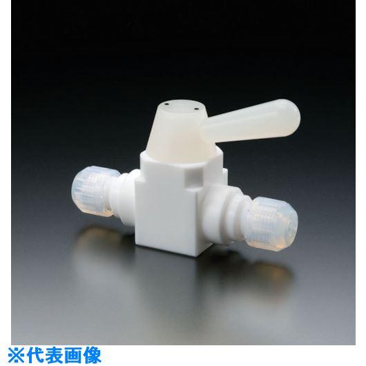 ■フロンケミカル フッ素樹脂(PTFE)二方ボールバルブ接続型 6パイ  〔品番:NR1667-001〕[TR-7355025]【個人宅配送不可】