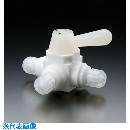 ■フロンケミカル フッ素樹脂(PTFE)三方ボールバルブ接続型 8Φ  〔品番:NR1668-002〕[TR-7355076]【個人宅配送不可】