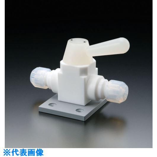 ■フロンケミカル フッ素樹脂(PTFE)二方ボールバルブ接続型ベース付 10Φ  〔品番:NR1669-003〕[TR-7355122]【個人宅配送不可】