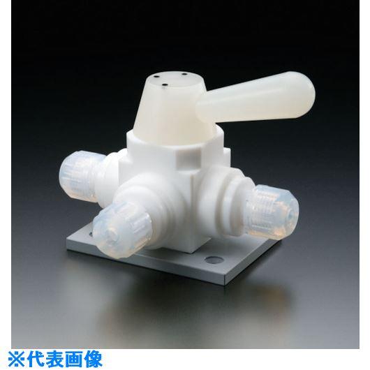 ■フロンケミカル フッ素樹脂(PTFE)三方ボールバルブ接続型ベース付 6Φ  〔品番:NR1670-001〕[TR-7355149]【個人宅配送不可】