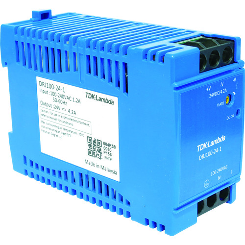 ■TDKラムダ DINレール取付専用ユニット型電源 DRJ 100W ブロック端子〔品番:DRJ100-24-1〕[TR-7885890]