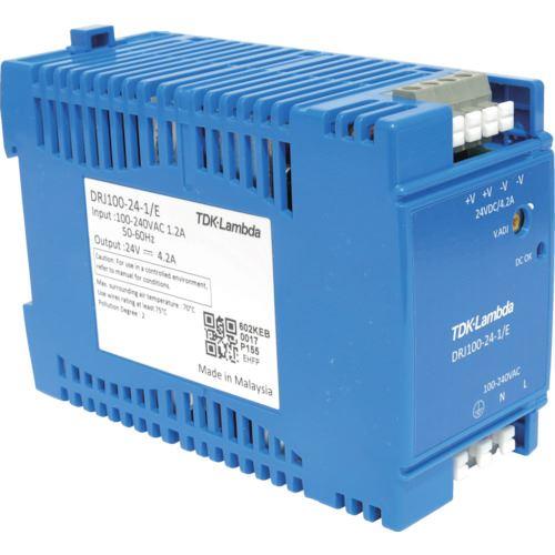 ■TDKラムダ DINレール取付専用ユニット型電源 DRJ 100Wヨーロッパ端子〔品番:DRJ100-24-1E〕[TR-7888678]