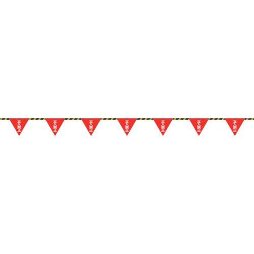 ■緑十字 三角旗付標識ロープ(トラロープ) 立入禁止 6MMΦ×20M(280MM三角)  〔品番:281008〕[TR-8151557]