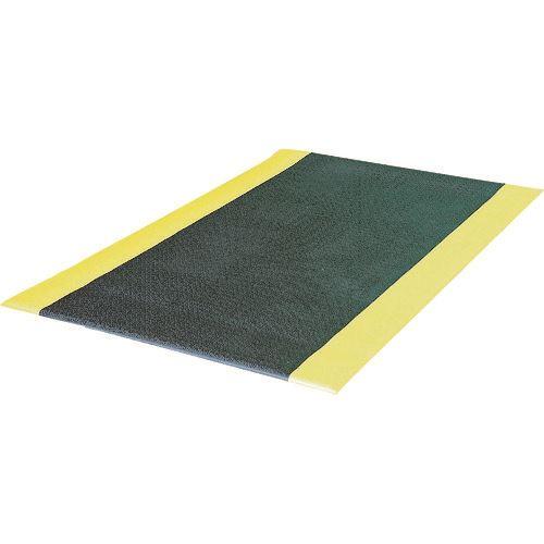■緑十字 クッションマット(疲労軽減マット) 黒/黄 910×1520mm PVC〔品番:296010〕[TR-8151766]【個人宅配送不可】