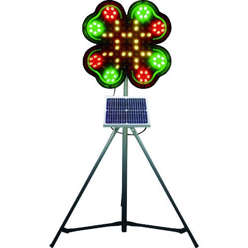 ■仙台銘板 ネオクローバー ソーラー式大型回転灯 三脚付 電源セット〔品番:3050700〕[TR-8184910]【大型・重量物・個人宅配送不可】