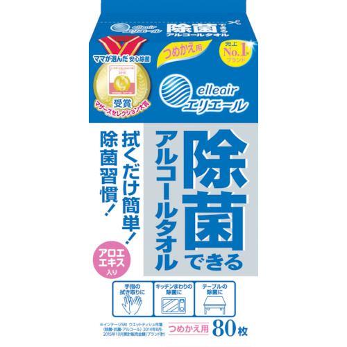 ■エリエール 除菌できるアルコールタオル つめかえ用80枚 24パック入り〔品番:733505〕[TR-8206662]