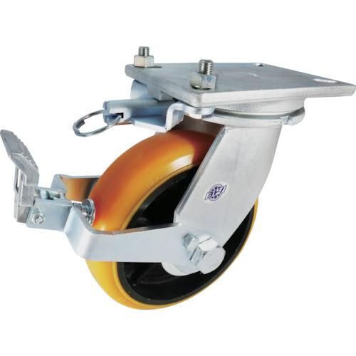 ■ヨドノ 重量用高硬度ウレタン自在車200Φストッパー・旋回ロック付〔品番:SDUJ200STTL〕[TR-8353156]
